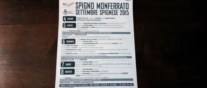 Programma settembre spignese 2015 700x300 September 2015 in Spigno Monferrato