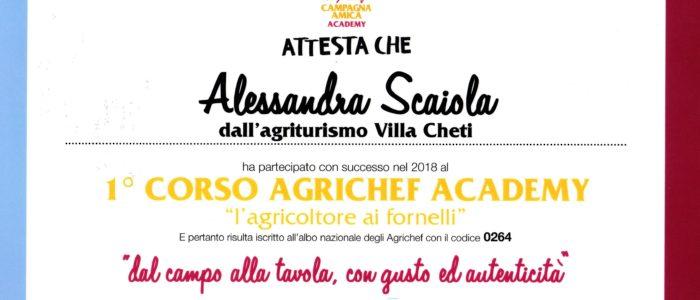 attestato agrichef gennaio 2018 Alessandra 700x300 Agrichef